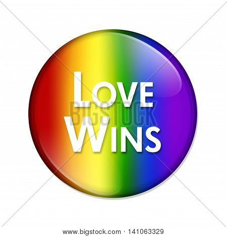 LGBT Love Wins Button A multicolored button with word Love Wins and LGBT pride colored isolated on a white background, 3D Illustration