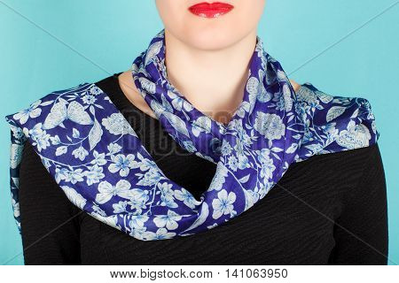 Silk Scarf. Blue Scarf Around Her Neck Isolated On White Background.