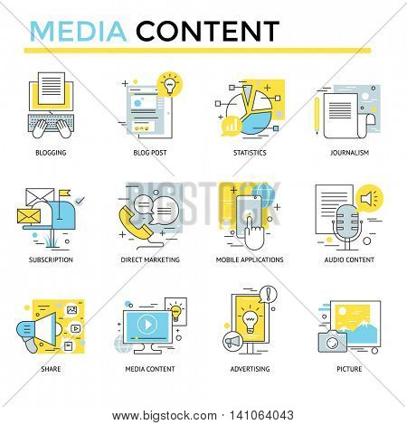 Media content concept icons, thin line flat design