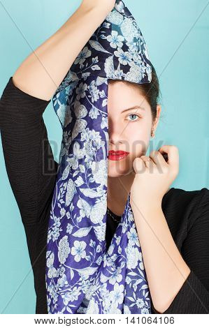 Silk Scarf. Blue Scarf Around Her Neck Isolated On White Background.