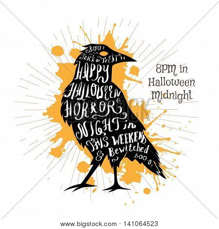 Halloween invitation banner with black shape of raven and calligraphic holiday wishes. Halloween retro hand lettering poster.