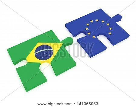 Partnership Brazil and EU: Puzzle Pieces Brazilian flag and EU Flag 3d illustration