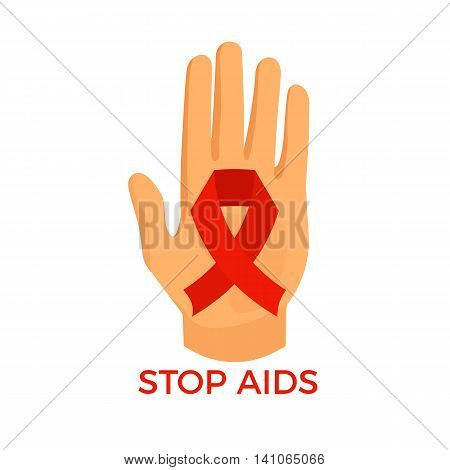 Aids awareness icon, palm with the red ribbon loop, colorful vector flat illustration