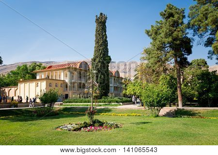 SHIRAZ IRAN -APRILL 30: Qavam House at Eram Garden in Shiraz Iran on Aprill 30 2016. Eram Garden has led to its designation as a UNESCO World Heritage Site.