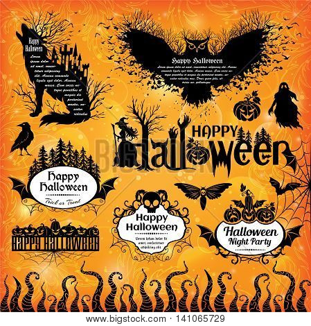 Halloween design elements. Collection of halloween labels icons banners and other decorative elements.