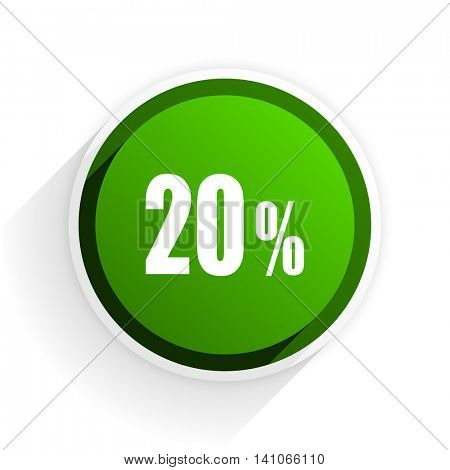 20 percent flat icon with shadow on white background, green modern design web element