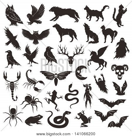 Halloween characters collection. Vector decorative elements collection