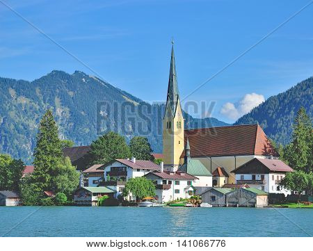 Village of Rottach-Egern at Lake Tegernsee in upper Bavaria,Germany