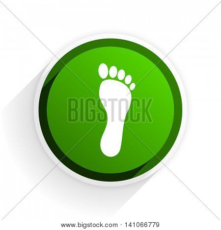 foot flat icon with shadow on white background, green modern design web element