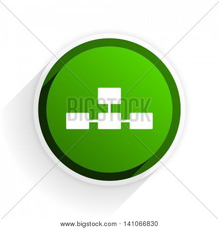 database flat icon with shadow on white background, green modern design web element