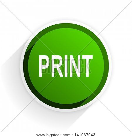 print flat icon with shadow on white background, green modern design web element