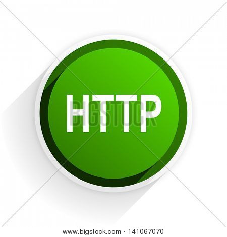 http flat icon with shadow on white background, green modern design web element