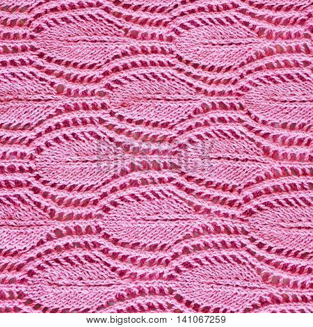 Hand-knitted Pink Pattern Close Up