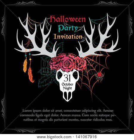 Halloween Party Design template with deer scull and sample text. Halloween invitation card with fairytale scene.