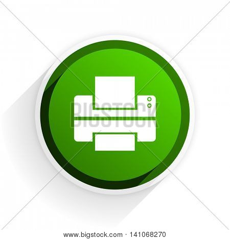 printer flat icon with shadow on white background, green modern design web element