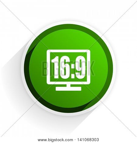 16 9 display flat icon with shadow on white background, green modern design web element