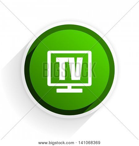 tv flat icon with shadow on white background, green modern design web element