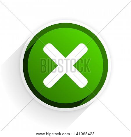 cancel flat icon with shadow on white background, green modern design web element