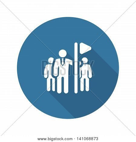 Team Leader Icon. Flat Design. Group of People with Leader Concept. Isolated Illustration. App Symbol or UI element.