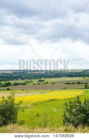 Rural Landscape With Fields And Village