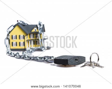 Model of a House witch Chain, Keys and Padlock