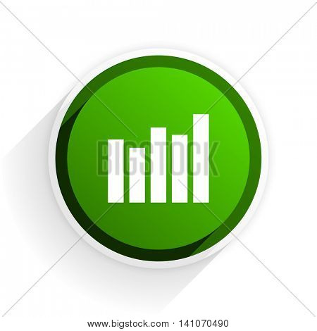 graph flat icon with shadow on white background, green modern design web element
