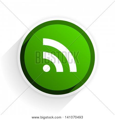 rss flat icon with shadow on white background, green modern design web element