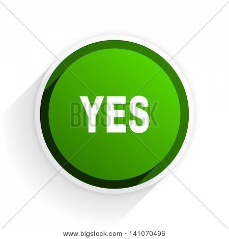 yes flat icon with shadow on white background, green modern design web element