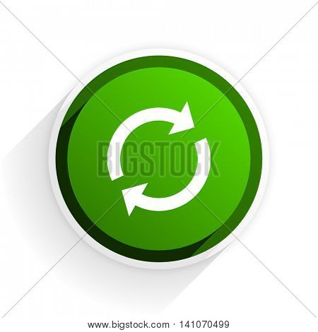 reload flat icon with shadow on white background, green modern design web element