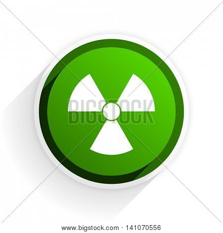 radiation flat icon with shadow on white background, green modern design web element