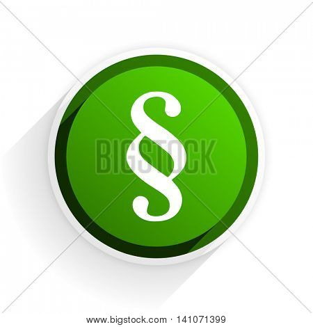 paragraph flat icon with shadow on white background, green modern design web element