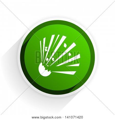 bomb flat icon with shadow on white background, green modern design web element