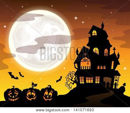 Haunted house silhouette theme image 5 - eps10 vector illustration.