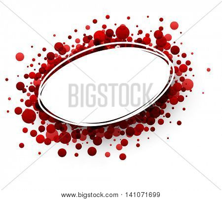 Paper oval white background with red drops. Vector illustration.
