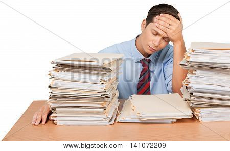Portrait of an Exhausted Employee with Stack of Folders