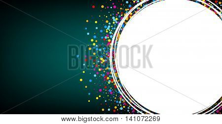 Green and white background with color confetti. Vector paper illustration.