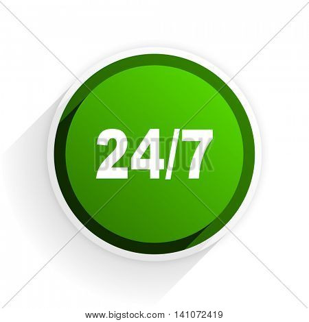 24/7 flat icon with shadow on white background, green modern design web element