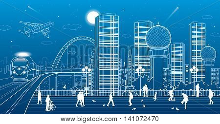 Urban panorama, office buildings and shopping centers, train rides on the bridge, people walk on the square, the city's infrastructure, neon town, airplane fly, vector design art