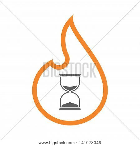 Isolated Line Art Flame Icon With A Sand Clock