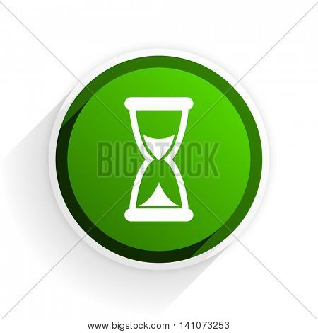 time flat icon with shadow on white background, green modern design web element