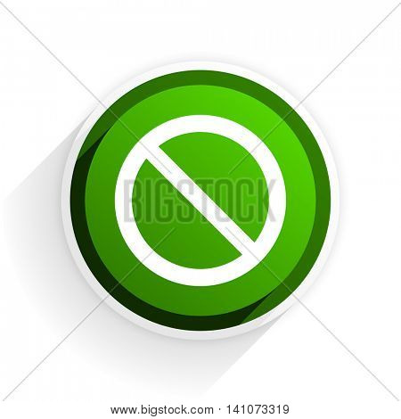 access denied flat icon with shadow on white background, green modern design web element