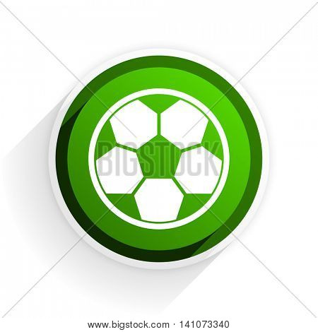 soccer flat icon with shadow on white background, green modern design web element