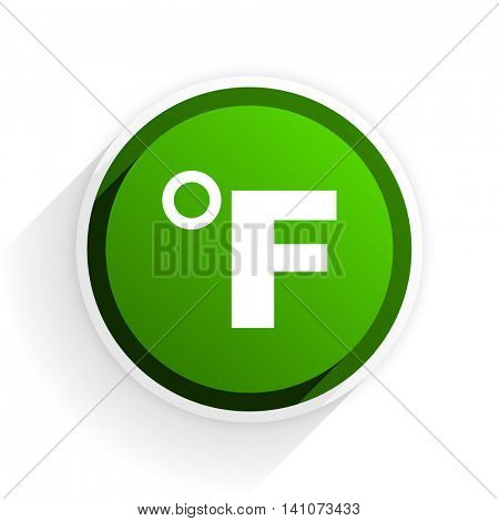 fahrenheit flat icon with shadow on white background, green modern design web element