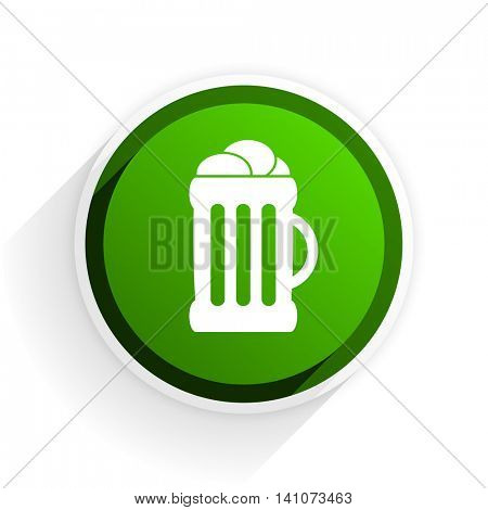 beer flat icon with shadow on white background, green modern design web element