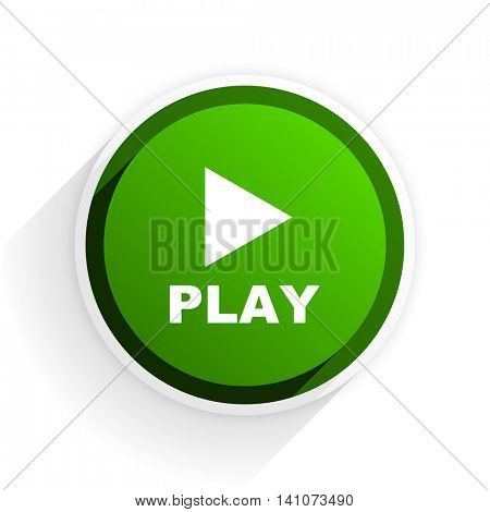 play flat icon with shadow on white background, green modern design web element