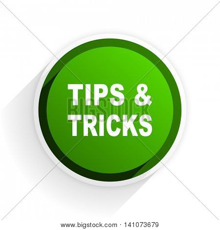 tips tricks flat icon with shadow on white background, green modern design web element