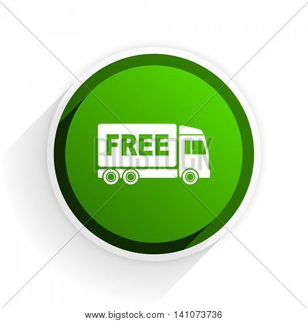 free delivery flat icon with shadow on white background, green modern design web element