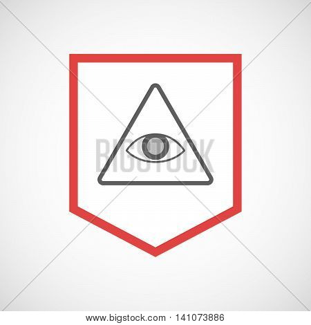 Isolated Line Art Ribbon Icon With An All Seeing Eye