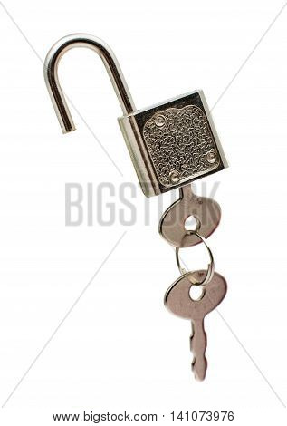Metal padlock with keys on a ring isolated on white background
