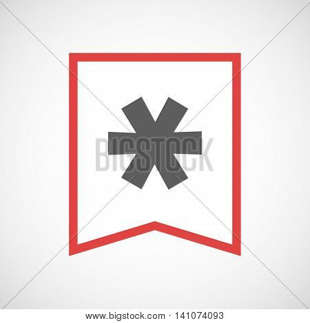 Isolated Line Art Ribbon Icon With An Asterisk